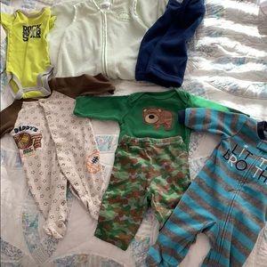 Baby boy 0-3mo onesies, sleep sack bundle